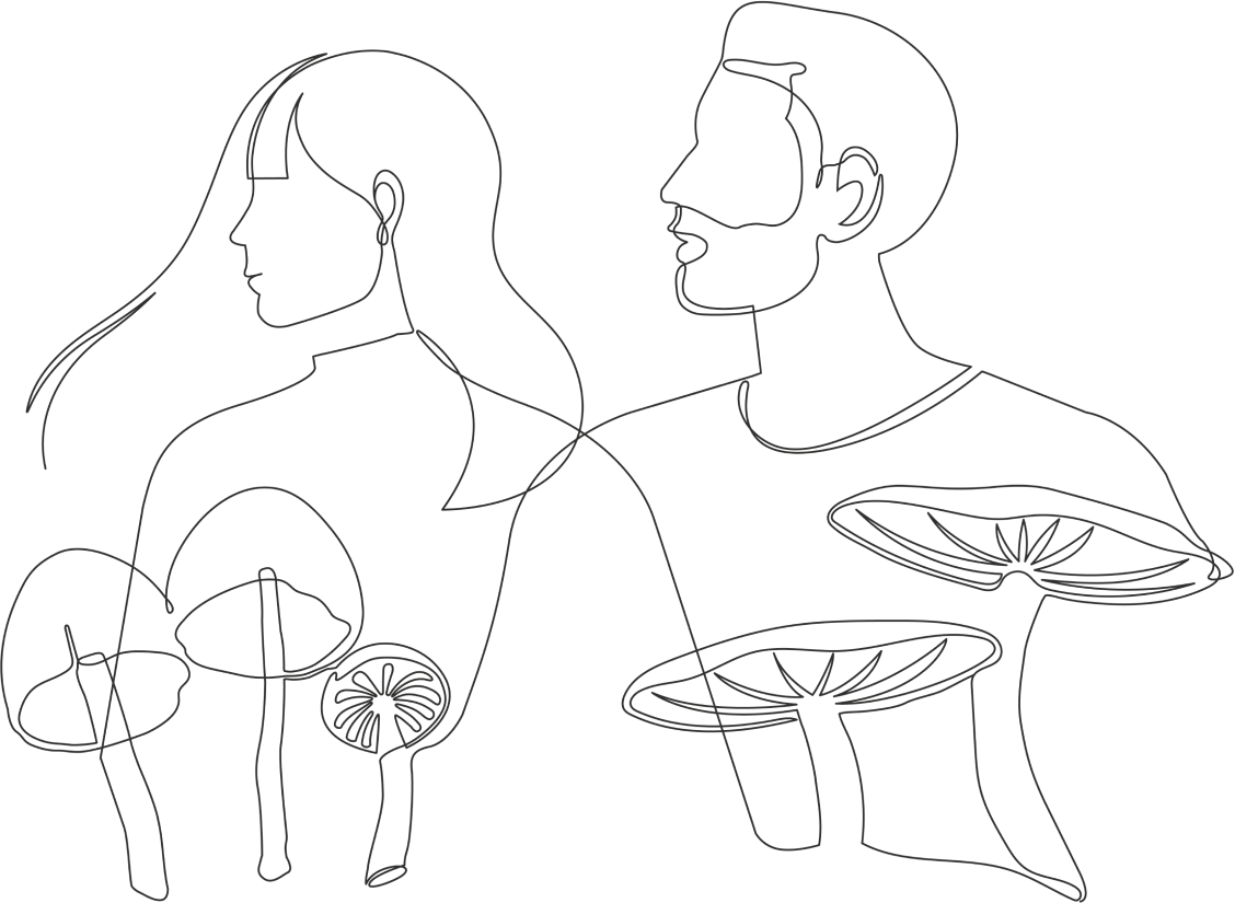 Illustration of two people with magic mushrooms